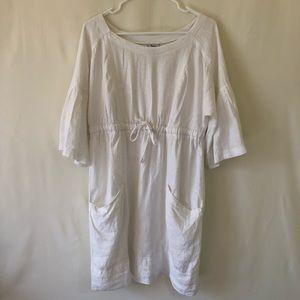 Ivy Jane white linen drawstring waist dress